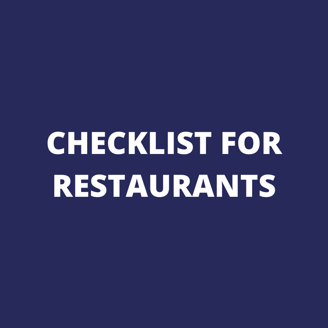 CHECKLIST FOR RESTAURANTS